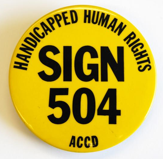 handicapped human rights sign 504 accd button